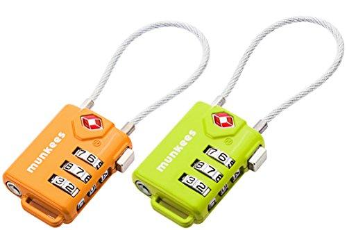 Munkees - Lucchetto TSA (Transportation Security Administration) a combinazione numerica, lucchetto per uso generale, per borse e per valigie., Doppelpack Grün Orange