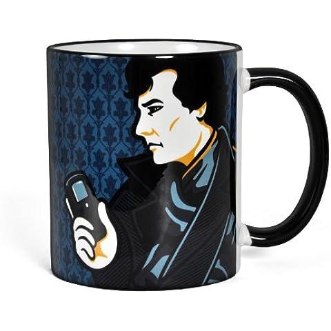 Sherlock - Tazza smiley face ispirata alla serie TV di Sherlock Holmes - Tazza per caffè in ceramica con capacità 300 ml - Nero