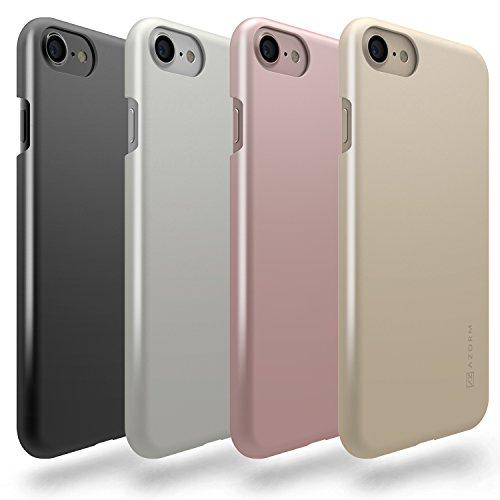 Azorm Handyhülle für iPhone 7 (4,7 Zoll) Color Edition Smartphone Hülle, Schutzhülle Anti-Rutsch und Kratzfest - Schwarz (Metalleffekt) Silber