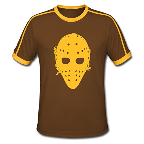 Spreadshirt Eishockey Vintage Goaliemaske Ice Hockey Männer Retro-T-Shirt, M, Chocolate/Sun (Vintage-hockey-t-shirts)