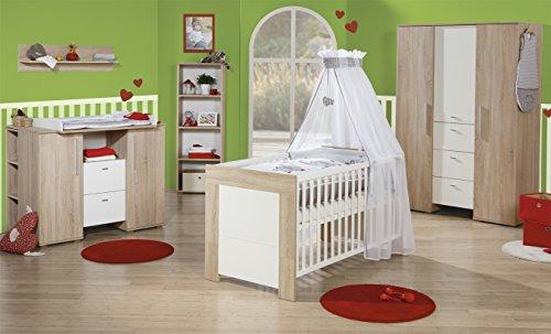 roba Kinderzimmer Daniel, Komplettzimmer 3-teilig mit Babybett 70x140 cm, Wickelkommode und 3-türigem Kleiderschrank, Babyzimmer Sparset -