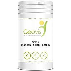 Zink+ Mangan-Selen-Chrom - 90 Kauchips mit je 10mg Zink + Mangan + Selen + Chrom - stärkt die Abwehrfunktion gegen Umweltgifte - Geovis