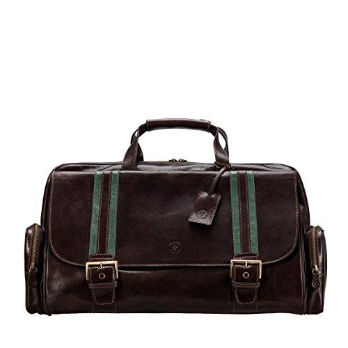 Maxwell-Scott® Luxus Leder Reisetasche in Dunkelbraun (DinoM)