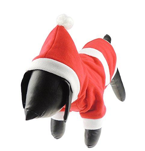 Hund Katze Festliche Weihnachten rot Santa Claus Warm Winter Jumper Coat Outfit Kostüm ()