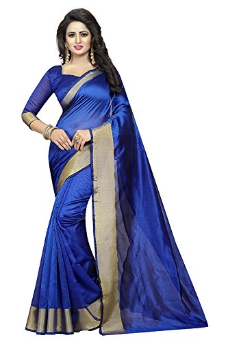 IndoPrimo Women's Party Wear Printed Georgette and Silk Saree With Blouse Piece (New Fancy Saree D1, Free Size, Multi Color) (Blues)
