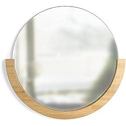 Espejo de Pared Redondo con 183.20Marco de Madera, Fresno, Natural