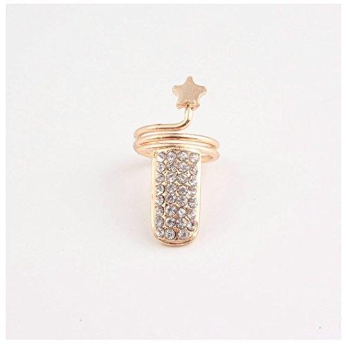 Bishiling Damen Ring Nagel-Ring AAA Zirkonia Sterne Damenringe Finger Ring Gold