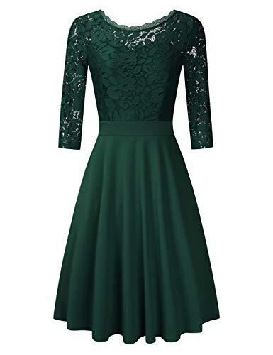 Clearlove Damen Elegant Abendkleid Cocktailkleid Knielang Festlich Kleider Spitzenkleid Schwarz Blau Rot