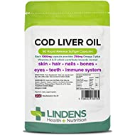 Lindens Cod Liver Oil 1000mg Capsules | 90 Pack | High in Omega 3, Vitamins A & D Contributes Towards Normal Skin, Hair, Nails, Bones, Eyes, Teeth, Brain & Immune System