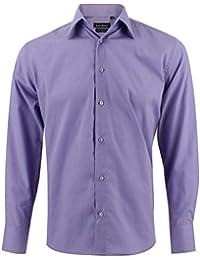 bccf4507ea Enzo Camisa Hombre Clásico Regular Fit Color Sólido con Mangas Largas de ...