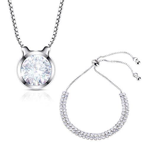 Lictin Armband Verstellbares Halskette Armband Kette für Damen Mädchen AAAAA Zirkonia Weißes Gold überzogen Ideal zum Geburtstag Weihnachten Valentinstag Hochzeit