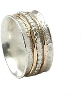 Tiljon Bicolor Ring 925er Silber mit drehbaren Schienen aus Silber und 375er Gold, ca. 0,8 cm breit