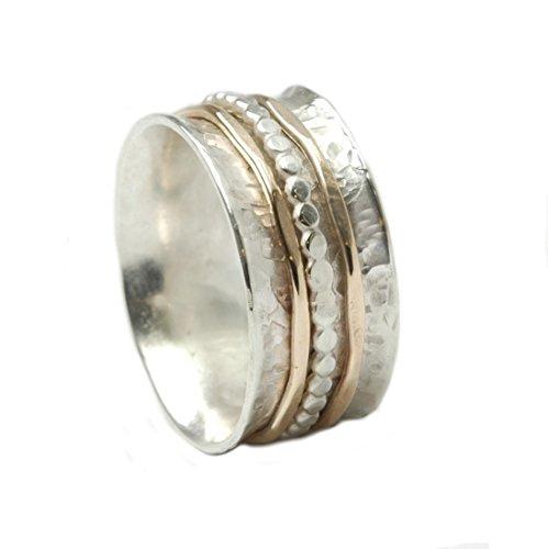 Tiljon Bicolor Ring 925er Silber mit drehbaren Schienen aus Silber und 375er Gold, ca. 0,8 cm breit Ringgröße 63 (20.1)