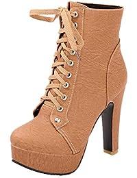 bd98c800594996 AIYOUMEI Damen Schnürstiefeletten High Heels Plateau Stiefeletten mit  Blockabsatz zum Schnüren Ankle Boots 11cm Absatz…