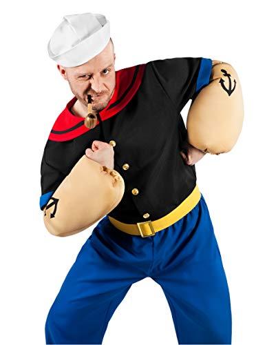 Popeye Comic Seemann Kostüm 6-teilig mit Hemd, Hose, Muskel-Armen und Matrosenmütze (S)