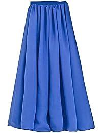 SUNNOW Korean Women Chiffon Boho Plissee Retro Maxi Langer Rock-elastischen Bund Tanz-Kleid