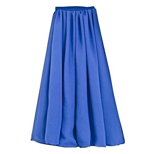 SUNNOW Korean Women Chiffon Boho Plissee Retro Maxi langer Rock-elastischen Bund Tanz-Kleid (Kleid Satin Plissee)