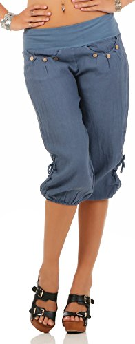 malito Damen Capri Hose aus Leinen | Stoffhose in Unifarben | Freizeithose für den Strand | Chino - kurze Hose 6302 (blau, M)