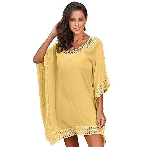 Guolipin Frauen Beachwear Bikini Cover Up Frauen Badeanzug Cover Oversized Lace Crochet Trim Bademode Strand vertuschen (Farbe : Gelb, Größe : Einheitsgröße) -