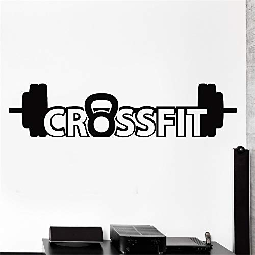 Ajcwhml Muur Sticker Sport Crossfit Barbell Dumbell Bodybuilding Decalcomania in Vinile Viola L 43cm x 192cm