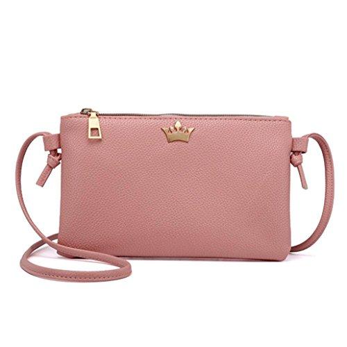 Beikoard vendita calda borsa a tracolla in pelle da donna borsa a tracolla in pelle a tracolla colore puro (rosa)