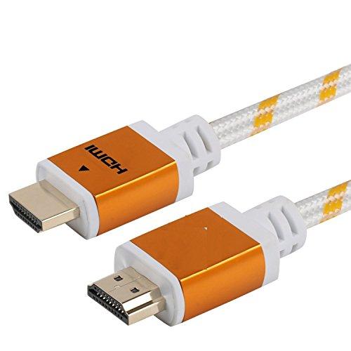 bel für PS4 / Xbox One, geflochten, 18 Gbit/s, vergoldete Anschlüsse, Ethernet, Audio-Rückgabe, Video HD 1080p, 3D, Xbox Playstation, PC, Computermonitor, Weiß 10Ft ()