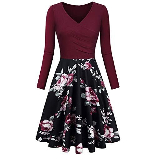 NEEDRA Damen Plissee Kleider Rundhals A Linie Faltenkleid Elegant Langarm Midi Kleid mit...