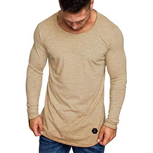 Preisvergleich Produktbild ZIYOU Muskel T Shirt Herren,  Herbst Slim Fit Langarm Bluse mit Rundhals Einfarbig / Sport Jogging Fitness Pullover(M, Beige )