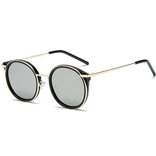 Yiph-Sunglass Sonnenbrillen Mode Persönlichkeit Frauen polarisierte Sonnenbrille Katzenaugen runde Form metallrahmen uv-Schutz Fahren Reisende Sonnenbrille für alle Gesicht (Farbe : Silber)