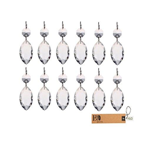 H&D, hängende Kristalle, mit silberfarbenem Kreis, toll für Hochzeiten, Babyzimmer, Kronleuchter, Kunst-Projekte oder als Weihnachtsbaum-Dekoration, Kristall, teardrop shape, 10 Stück (Vorhänge Teardrop)