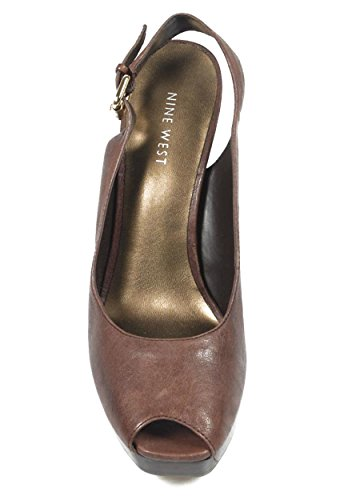 NINE WEST - Fionda Indietro Sandali Donna NWUNIDA DARK BROWN Tacco: 12.5 cm Marrone scuro