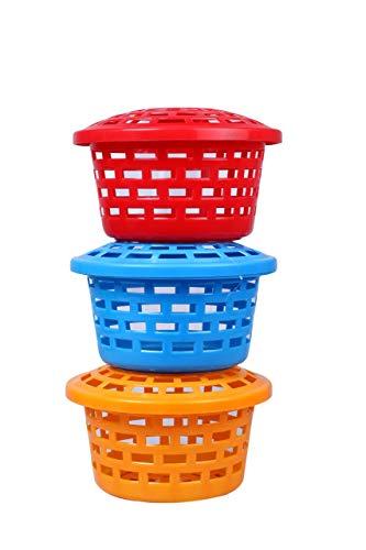 Prabhu sales Storage Baskets | Multipurpose Plastic Container Set | Utility Organizer | 3 Round Baskets Set (Medium) with Lid and Holding Space, Set of 3