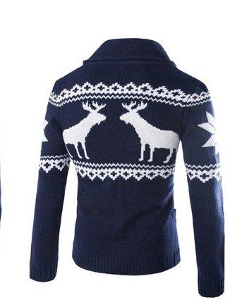 BOMOVO Herren V-Ausschnitt Knopf Strickpullover Pullover Sweatshirt Blau