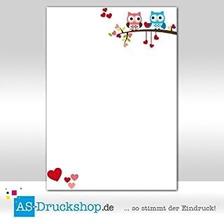 Designpapier Eule - Verliebte Eulen / 25 Blatt/DIN A4 / 90 g-Offsetpapier
