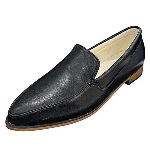 Mocassini Donna Pelle Tacco Basso Loafers Piatto Caviglia Punta 2.5 CM Scarpe da Barca Zeppa Eleganti Estate Slip On Nero 41