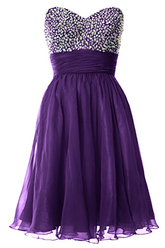 MACloth Women Strapless Chiffon Short Prom Dress Formal Cocktail Party Ball Gown Violett