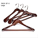 Garderobenständer YANFEI, Set aus 4 hochwertigen Holzanzug-Kleiderbügeln - breiter Holzbügel für Mäntel und Hosen mit breiter Schulter (Retro) (Farbe : A, größe : 45 * 25.5 * 5cm)