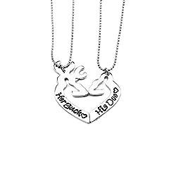 Simple Her Buck&His Doe Heart-shaped Elk Split couple necklace Sets of chain 2PCS by NextStone by Electfan Jewel