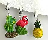 My-goodbuy24 Tischdeckenbeschwerer mit Klammer - 4er Set - Tischdeckenhalter Garten Tischdeckenklammern Tischtuch Clips - Polystone (Kaktus) - 4