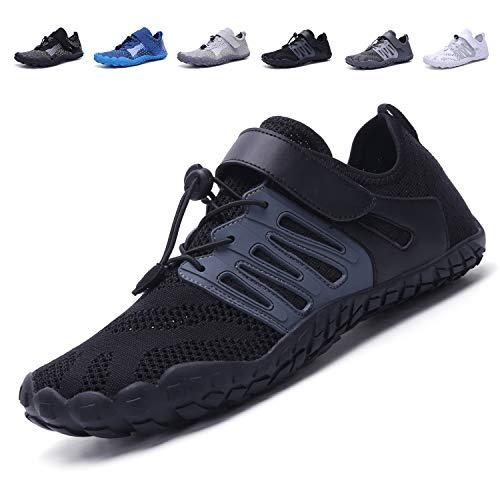 adituob Herren Damen Schnelltrocknend Barefoot Wasserschuhe Sport Aqua Schuhe für Schwimmbad Laufen Wandern Schwarz EU39 (Schwarz Laufen Schuhe)