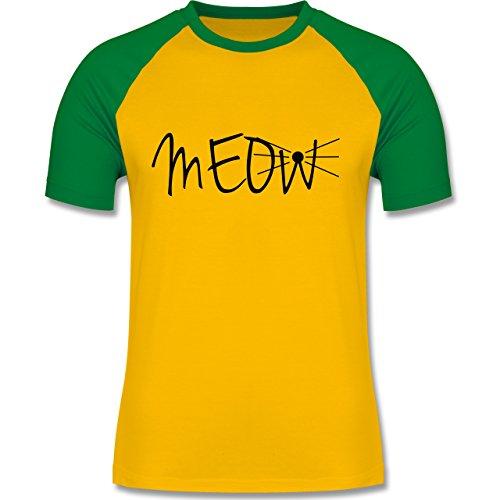 Statement Shirts - Meow - zweifarbiges Baseballshirt für Männer Gelb/Grün