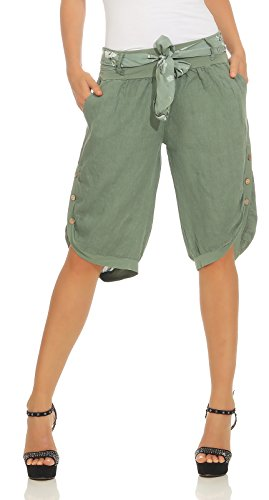 Capri 100% Leinen Bermuda lockere Kurze Hose Freizeithose Shorts mit Gürtel und Knöpfen Oliv L ()