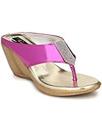 Rimezs Pink Stylish Embellish Party And Evening Wear Open Back Wedges Sandal For Women And Girls
