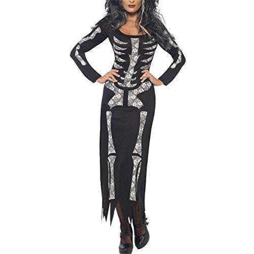 en Kostüm Bodysuit Alles in Einem Overall mit dem Skelett Umriss auf Sie Ärmellos Tops & Hosen Small Grau 1 (Skelett Kostüm Damen Bodysuit)