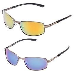Vast Combo Pack of 2 Unbreakable (Polycarbonate) Lens UV Protection Wrap Around Sports & Biking Unisex Sunglasses (ORANGE_BLUE)