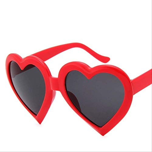 PMFSFashion Love Heart Shaped Sunglasses Women Eyewear Sun Glasses Mirror Black Sunglass Female  Red