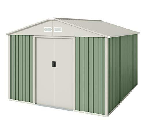Hoggar Caseta metálica verde/beige para almacenamiento 7,86 m2 261x301x198cm