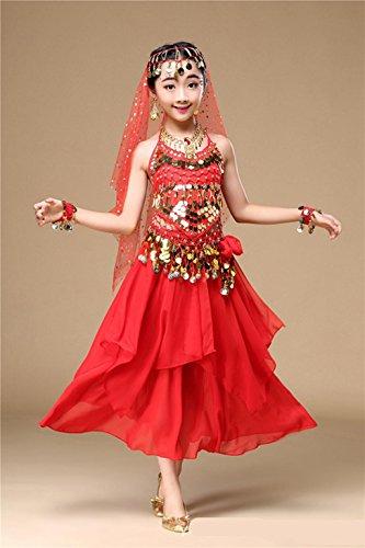 Byjia Mädchen Bauchtanz Kleider Sets Kostüme Karneval Elegante Performance Kleid Glänzend Tanzschule, 1, S (Tanzschule Kostüm)
