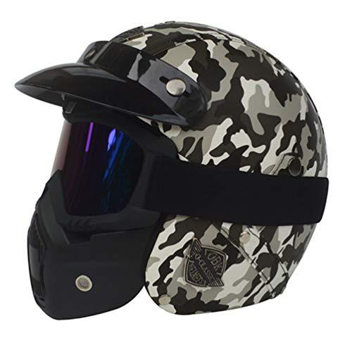 Casco moto Halley Retro Prince 3/4, Casco moto in pelle per adulti con visiera, caschi da motocross sicurezza 24 colori 53-61cm