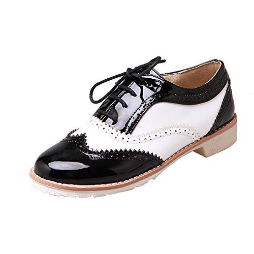 YE Damen Flache Oxfords Schnürhalbschuhe mit kleinem Absatz Bequem Modern Schuhe
